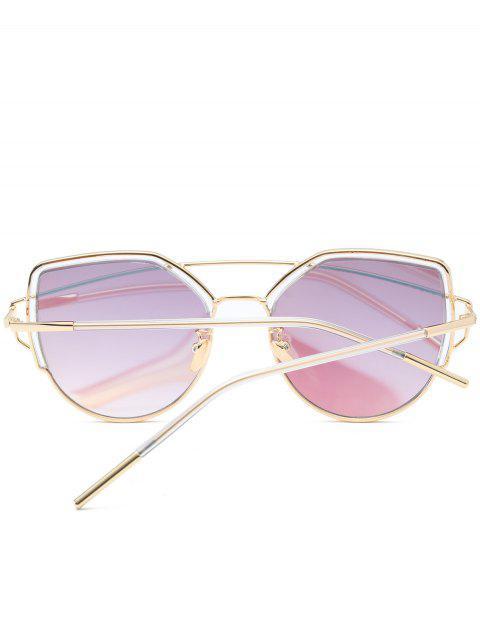 chic Cat Eye Metal Crossbar Sunglasses - LIGHT BLUE  Mobile