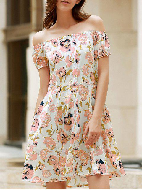 chic Floral Off The Shoulder Short Sleeve Dress - COLORMIX M Mobile