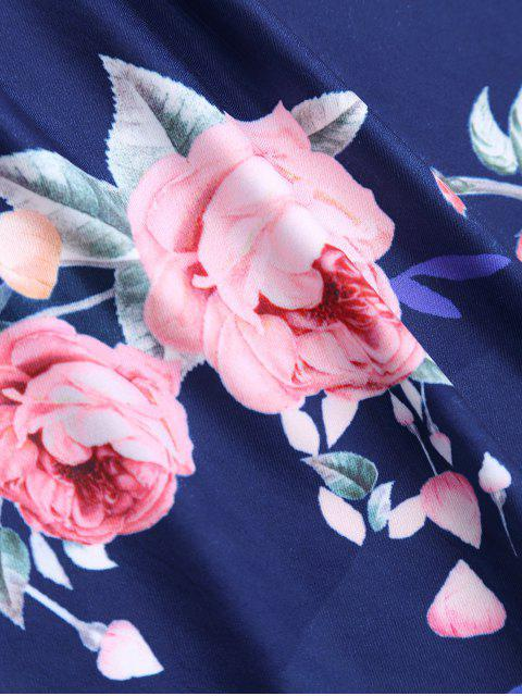 outfits Crew Neck Rose Print T-shirt - DEEP BLUE S Mobile