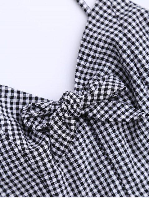 new Plaid Peplum Knot Top and Shorts - BLACK XL Mobile
