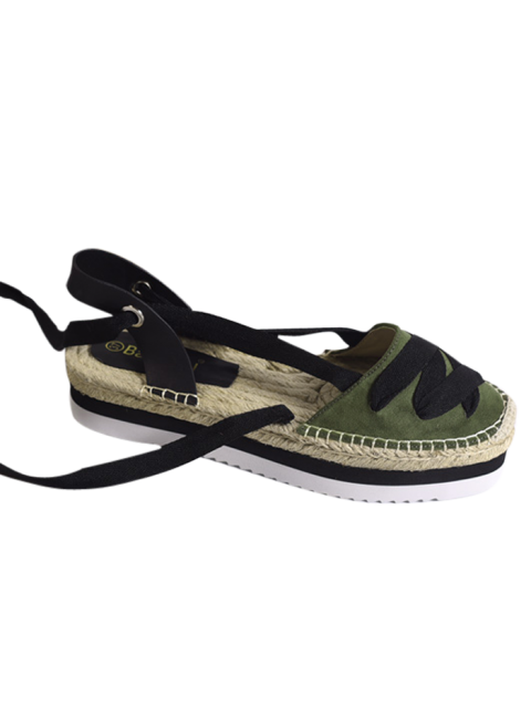 latest Tie Leg Closes Toe Espadrille Sandals - ARMY GREEN 39 Mobile