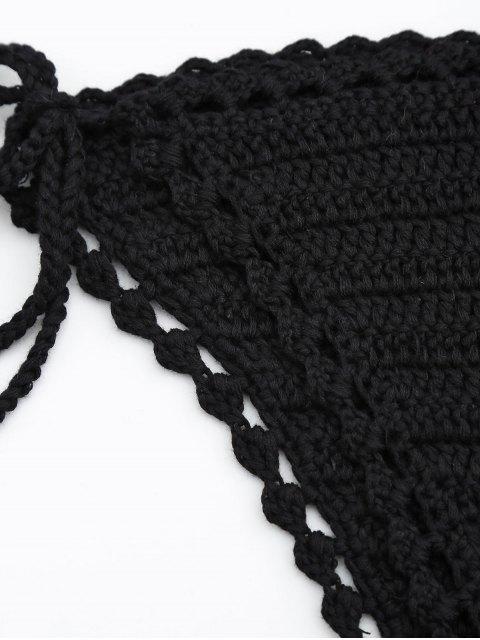 trendy Crochet Wrap Bikini Top and String Bottoms - BLACK ONE SIZE Mobile