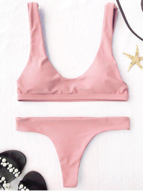 Bikini matelassé en mousseline de soie  à col en U - ROSE PÂLE S Mobile