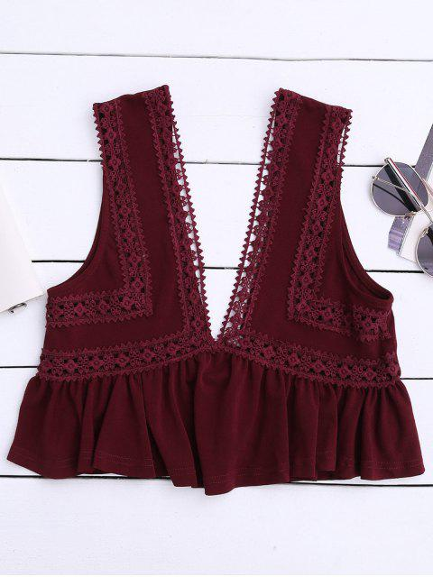 lady Ruffles Lace Trim Cropped Tank Top - WINE RED M Mobile