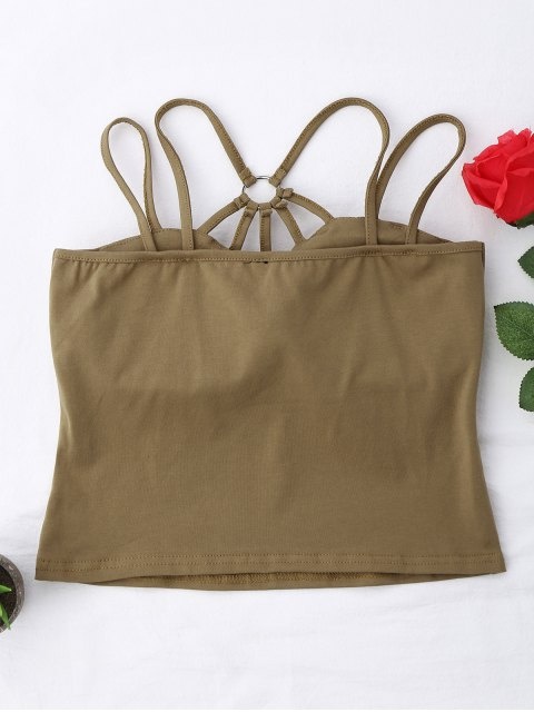 latest Criss Cross Padded Strappy Tank Top - KHAKI S Mobile