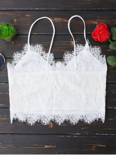 fancy Cami Scalloped Lace Tank Top - WHITE L Mobile