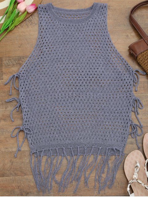 lady Tie Side Open Knit Beach Cover Up Top - PURPLE ONE SIZE Mobile