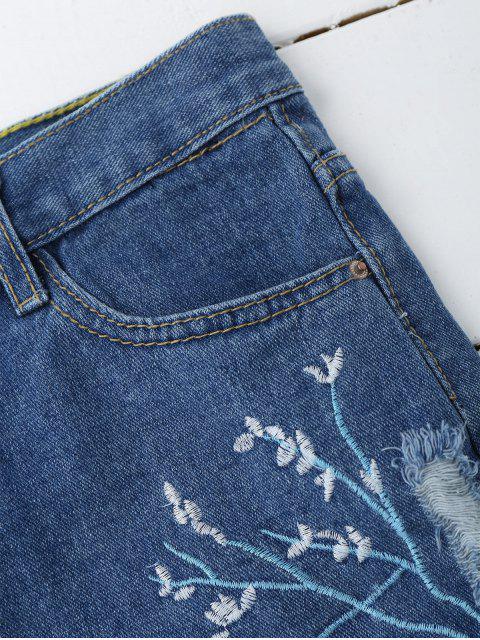Shorts déchirés en denim  et brodés à motif floral - Denim Bleu L Mobile
