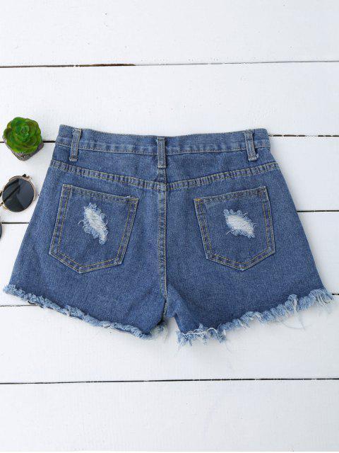 Shorts déchirés en denim  et brodés à motif floral - Denim Bleu M Mobile