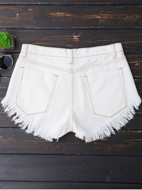 Shorts en denim déchiré asymétrique - Blanc L Mobile