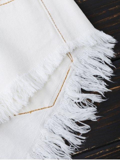 Shorts en denim déchiré asymétrique - Blanc S Mobile