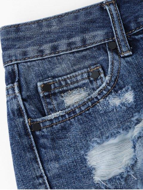 trendy Cutoffs Ripped High Low Denim Shorts - DENIM BLUE M Mobile