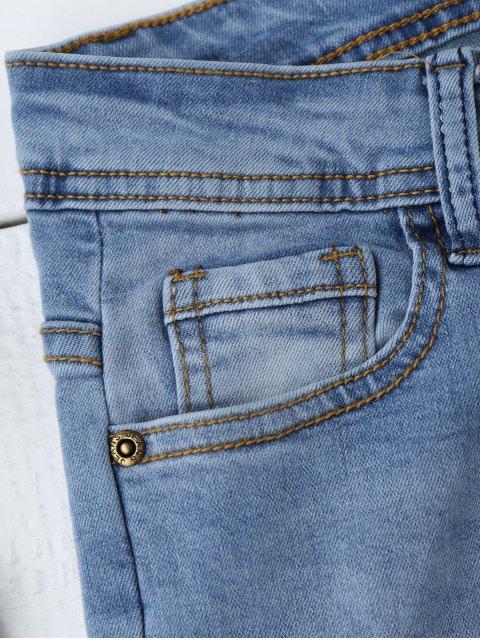 unique Ripped Floral Embroidered Sequins Jeans - DENIM BLUE M Mobile