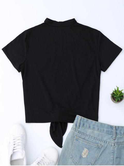 womens Choker Knot Hem T-shirt With Embroidered Flowers - BLACK S Mobile