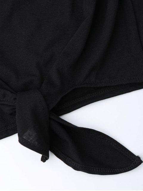 T-shirt col ras du cou pan noué avec broderie florale - Noir XL Mobile