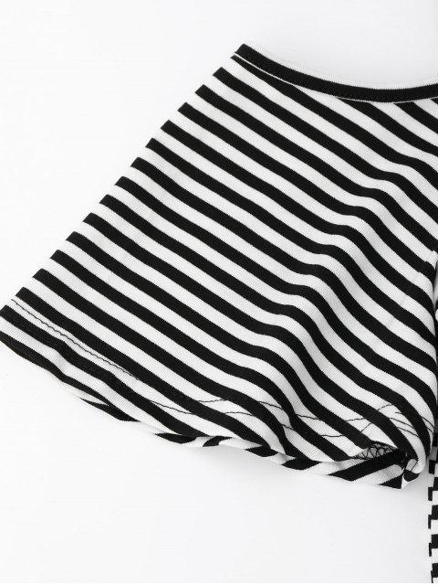 online Cold Shoulder Striped Back Slit T-shirt - BLACK L Mobile