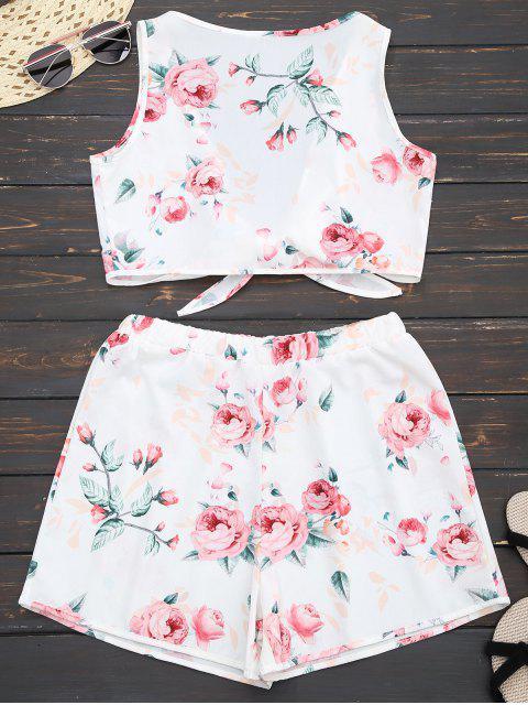 Top croppé floral embelli nud +Shorts - Blanc XL Mobile