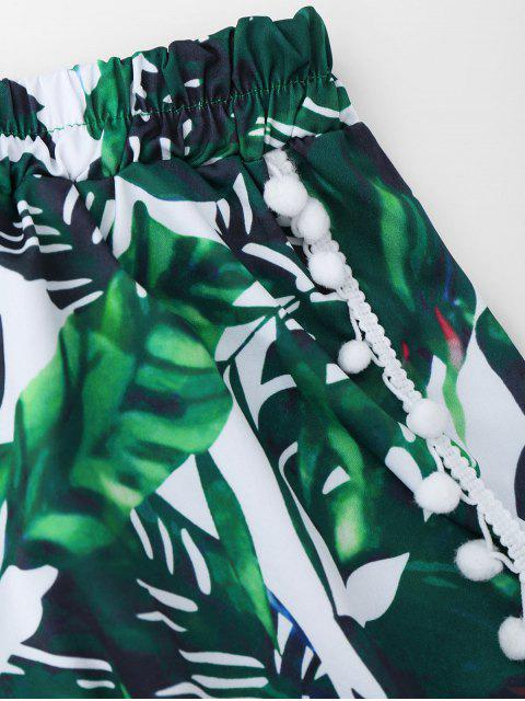 shops Tropical Print Shorts With Pompon - BLACKISH GREEN M Mobile