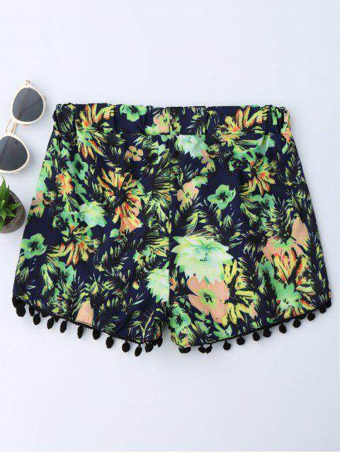 chic Floral Print Fringe Beach Shorts - GREEN L Mobile