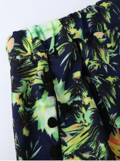 Shorts de plage imprimé fleur avec franges - Vert XL Mobile