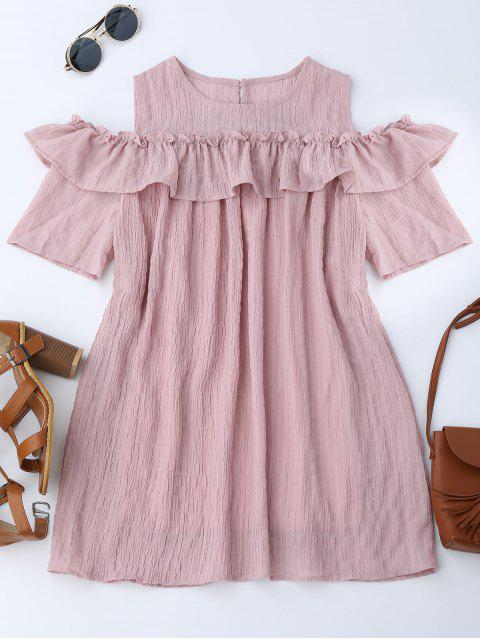 sale Cold Shoulder Ruffle Dress With Crease - PINK L Mobile