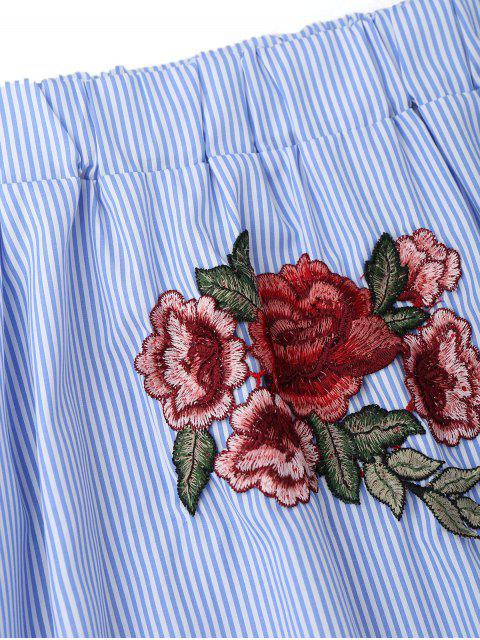 womens Off Shoulder Striped Drop Waist Dress - BLUE S Mobile