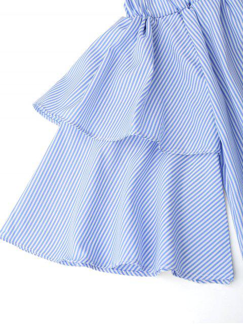 women Off Shoulder Striped Drop Waist Dress - BLUE M Mobile