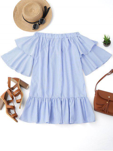 ladies Off Shoulder Striped Drop Waist Dress - BLUE XL Mobile