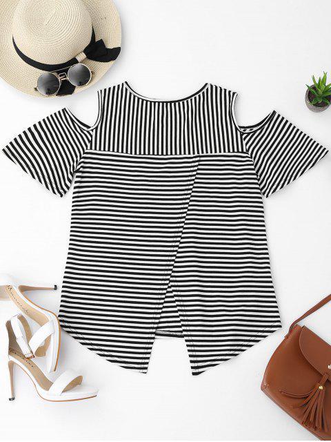 women Cold Shoulder Striped Back Slit T-shirt - BLACK XL Mobile