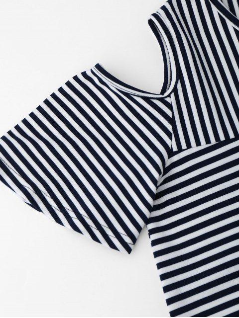T-shirt à rayures à épaule dénudées avec fente au dos - Bleu Violet XL Mobile