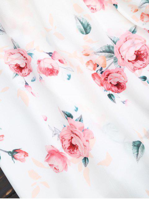 Robe imprimée fleur épaules dénudées pan asymétrique - Blanc M Mobile