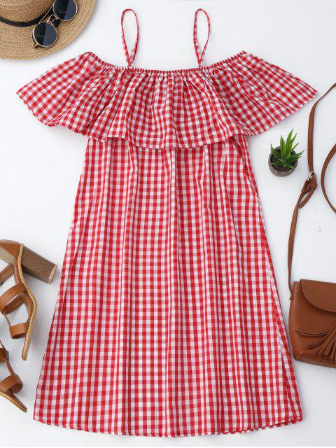 fashion Cami Plaid Ruffle Dress - RED M Mobile