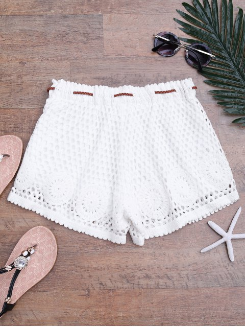 sale Lined Drawstring Crochet Cover Up Shorts - WHITE ONE SIZE Mobile