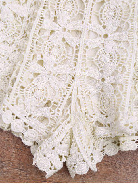 affordable Lined Crochet Cover Up Bottoms - BEIGE ONE SIZE Mobile