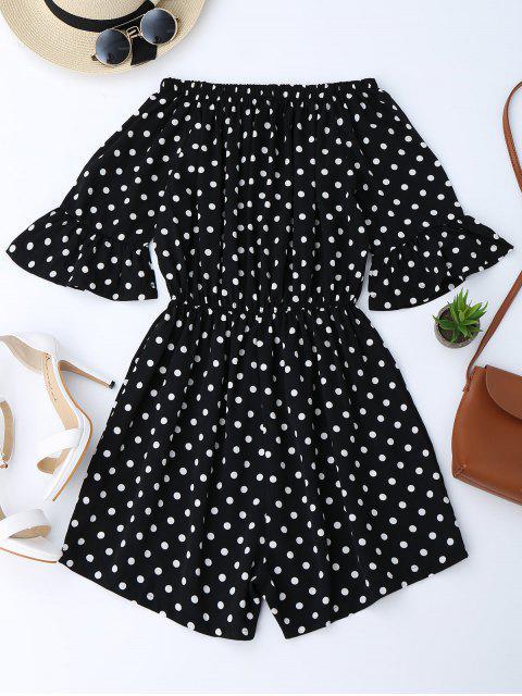 womens Off The Shoulder Polka Dot Romper - BLACK M Mobile