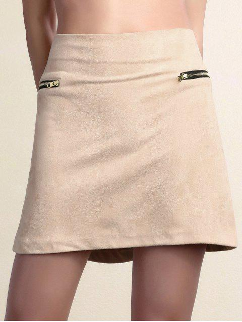Mini-jupe zippée suédée - ROSE PÂLE S Mobile