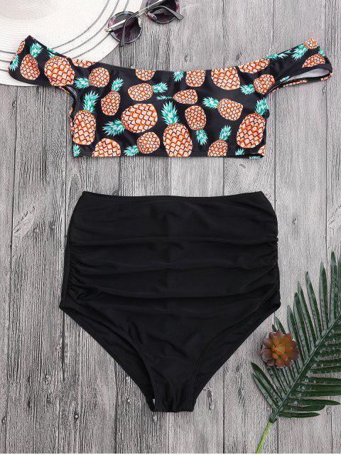 Bikini à épaules tombantes imprimé d'ananas à taille haute et plissée - Noir L Mobile
