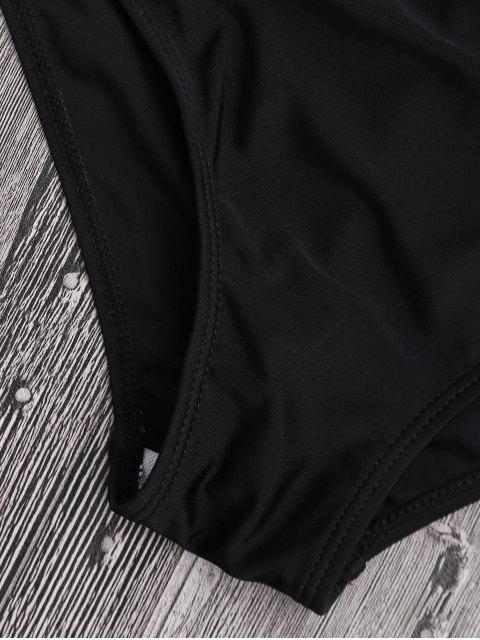best Off Shoulder Pineapple Ruched High Waisted Bikini - BLACK S Mobile