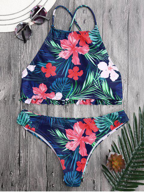 trendy Tropical Floral High Neck Ruffles Bikini - FLORAL S Mobile