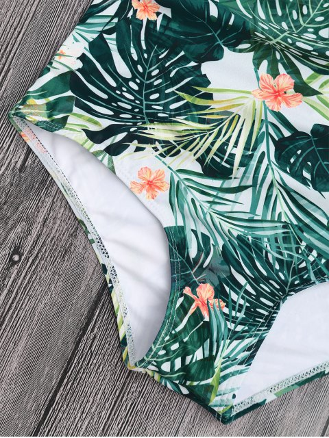 unique Tropical Floral Tied High Waisted Bikini - FLORAL S Mobile
