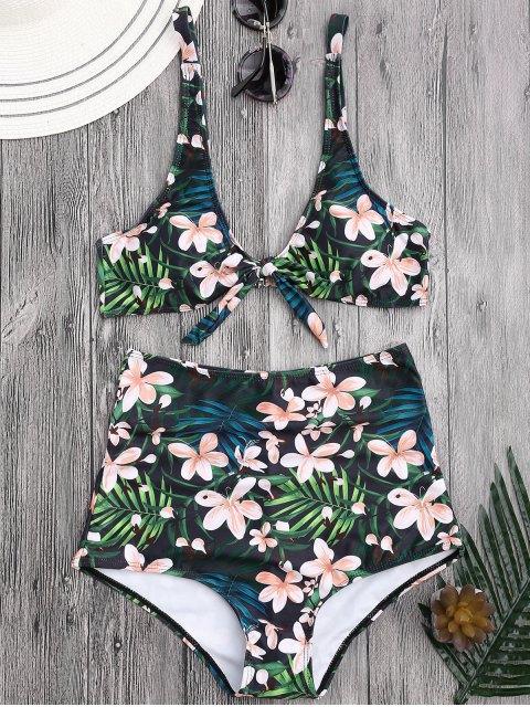 bikini à haute taille en motif floral tropical - Floral S Mobile