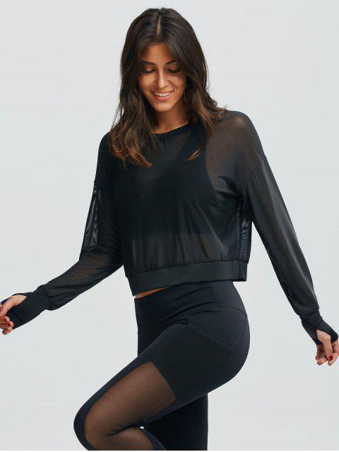 outfits Mesh See-Through Sports Top - BLACK M Mobile