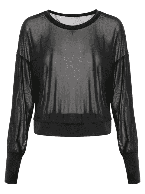 shop Mesh See-Through Sports Top - BLACK S Mobile