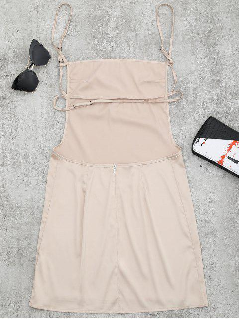 lady Backless Mini Slip Dress - APRICOT S Mobile