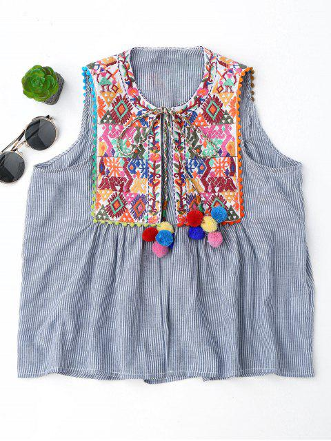 hot Embroidered Open Front Waistcoat with Bell - STRIPE L Mobile