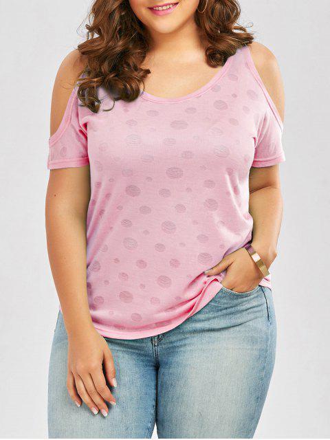 new Plus Size Cold Shoulder Plain T-Shirt - PINK 5XL Mobile