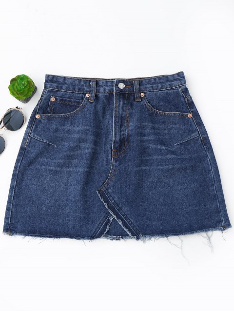 women's High Waisted Cutoffs Mini Denim Skirt - DEEP BLUE L Mobile