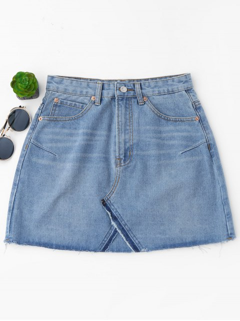 buy High Waisted Cutoffs Mini Denim Skirt - LIGHT BLUE M Mobile