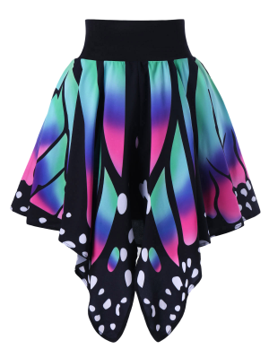 Alta Cintura De La Forma De La Mariposa Falda - M