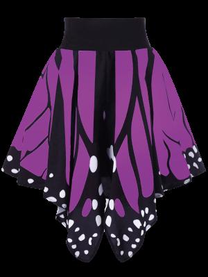 Alta Cintura De La Forma De La Mariposa Falda - Púrpura M